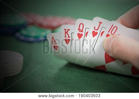 Lucky Poker Player With A Winning Hand