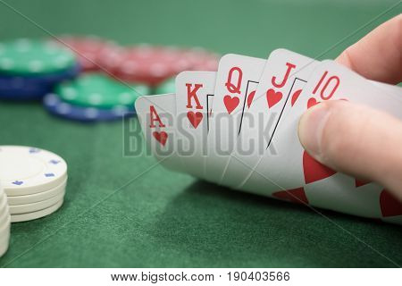 Poker Player With A Winning Hand