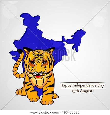 illustration of Tiger India national animal on India map background with happy independence day text on the occasion of India independence day