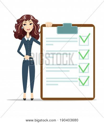 woman with a questionnaire . Survey form icon vector, flat style good exam results paper sheet , quiz form idea, passed questionnaire, interview assessment illustration poster