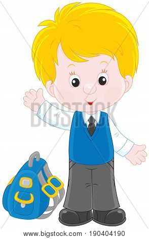 Little schoolboy smiling, standing with his schoolbag and waving in greeting