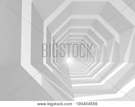 White Empty Tunnel Perspective, 3D Illustration