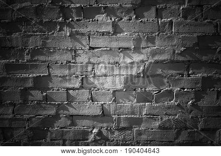 Black Brick Wall With Spot Illumination, Texture