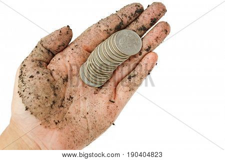 A fews United States coins, quarter dollar on single dirty woman hand with black soil dirt isolated on white background