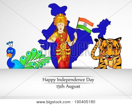 illustration of Peacock, Tiger and a woman holding Indian flag on Indian map background with Independence Day 15th August text on the occasion of India Independence Day