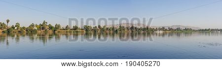 View Of River Nile In Egypt Showing Luxor West Bank