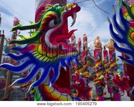 dragon scrulpture joss sticks at outdoor
