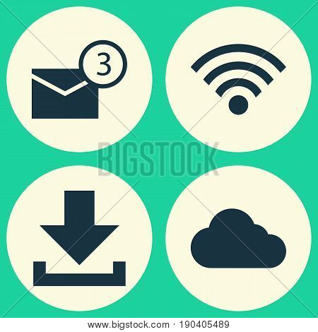 Media Icons Set. Collection Of Inbox, Overcast, Wireless Connection And Other Elements. Also Includes Symbols Such As Overcast, Technology, Connection.