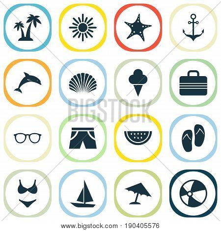 Sun Icons Set. Collection Of Beach Sandals , Bikini, Sunny Elements. Also Includes Symbols Such As Shorts, Starfish, Parasol.