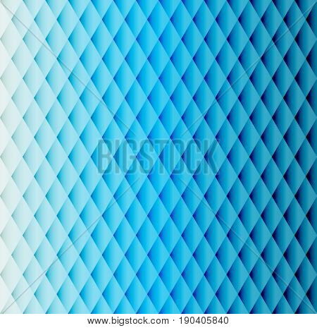 Blue geometric background. Blue color tiled  pattern of rhombuses with lighting and shadows