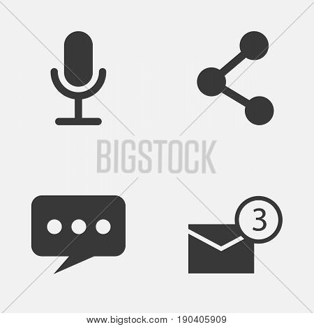 Internet Icons Set. Collection Of Inbox, Message, Video Chat And Other Elements. Also Includes Symbols Such As Network, Mail, Microphone.
