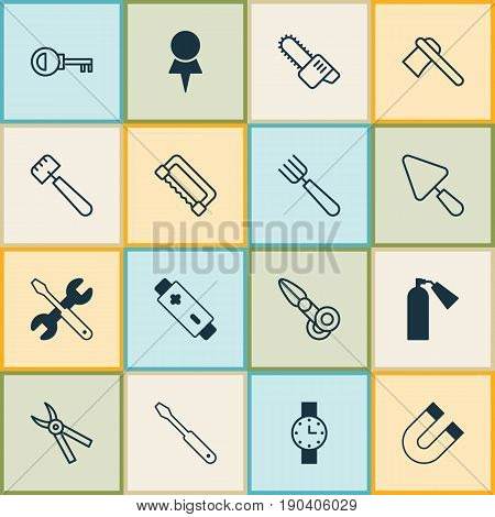 Tools Icons Set. Collection Of Attraction, Carpentry, Spatula And Other Elements. Also Includes Symbols Such As Hatchet, Key, Firefighter.