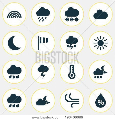 Climate Icons Set. Collection Of Colors, Wet, Breeze And Other Elements. Also Includes Symbols Such As Breeze, Snowy, Thermometer.