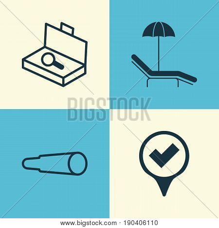 Travel Icons Set. Collection Of Magnifying Glasses, Suitcase Checking, Relax Chair And Other Elements. Also Includes Symbols Such As Search, Binocular, Pointer.