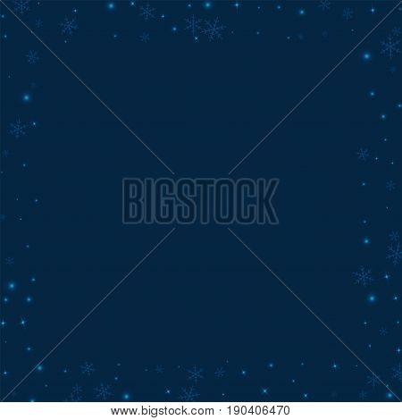 Sparse Glowing Snow. Square Scattered Border With Sparse Glowing Snow On Deep Blue Background. Vecto