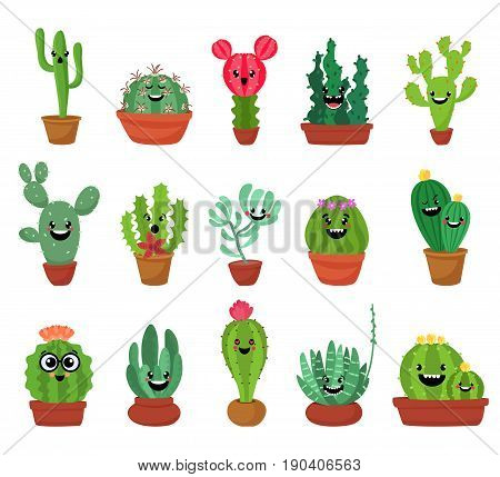 Big set of cute cartoon cactus and succulents with funny faces stickers. Smile faces succulent plants in flowerpots. Character design cartoon style vector illustration