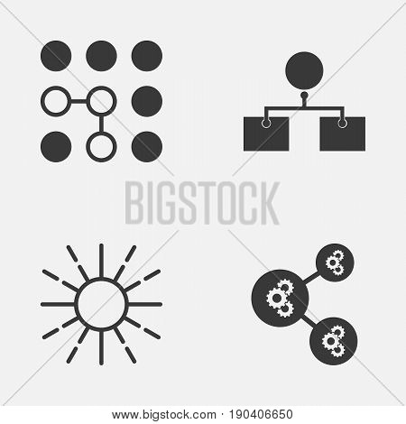 Icons Set. Collection Of Lightness Mode, Algorithm Illustration, Computing Problems And Other Elements. Also Includes Symbols Such As Solution, Gear, Analysis.