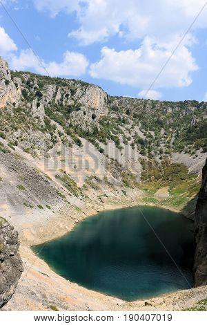 view on the blue lake of Imotski in croatia