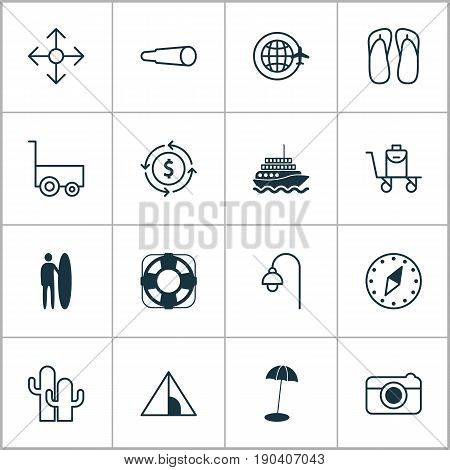 Travel Icons Set. Collection Of Cardinal Direction, Sea Rescue, Freight Trolley And Other Elements. Also Includes Symbols Such As Tent, Thong, Navigation.