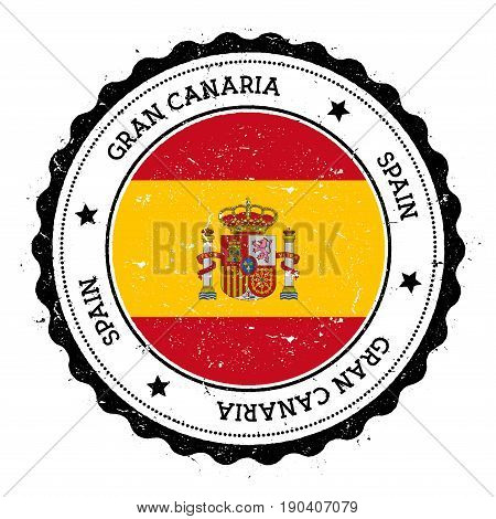 Gran Canaria Flag Badge. Vintage Travel Stamp With Circular Text, Stars And Island Flag Inside It. V
