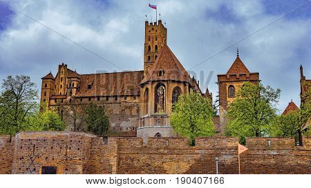 MALBORK POLAND Marienburg castle. Castle of the Teutonic Order in Malbork. It was built in Marienburg Prussia by the Teutonic Knights