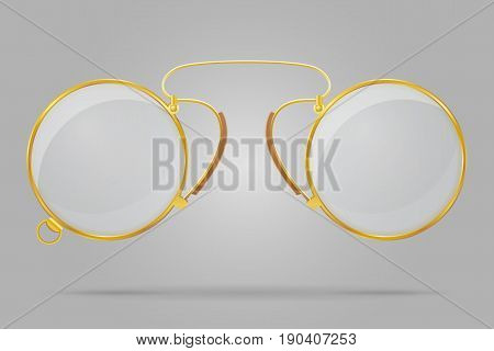 pince-nez old retro vintage icon stock vector illustration isolated on grey background