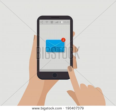 Hand holding smartphone. New email concept. Vector illustration. Counter notification. New message. Unread message. Letter icon
