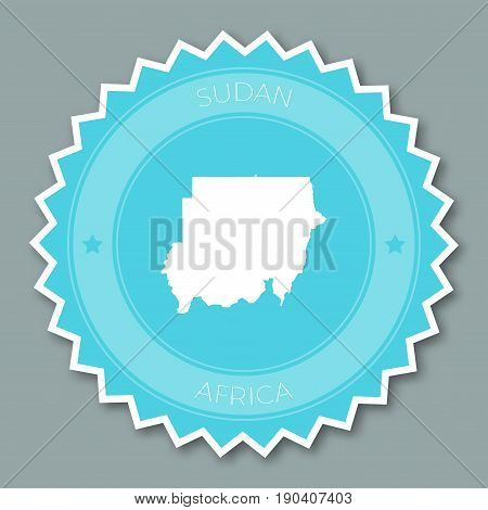 Sudan Badge Flat Design. Round Flat Style Sticker Of Trendy Colors With Country Map And Name. Countr