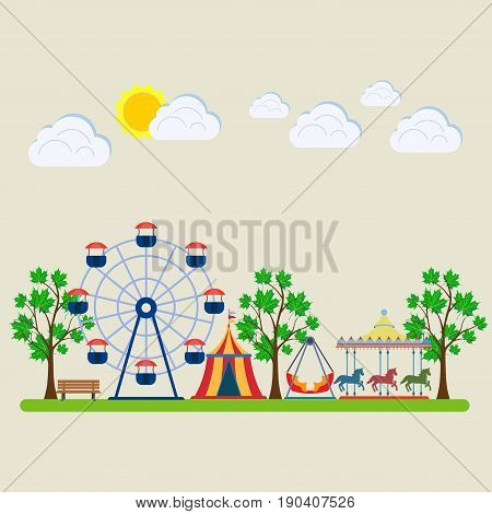 amusement park fair with carousels entertainment swings and a ferris wheel flat design vector image