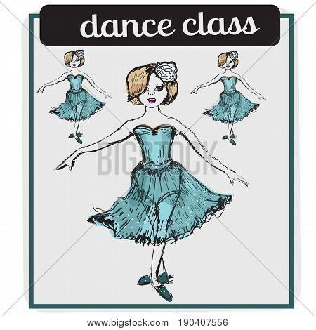 Ballet classes cartoon style vector illustration isolated on white background. Ballerina. Ballet dancer. Dance school poster or greeting card design template.Vector