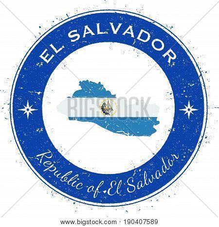 El Salvador Circular Patriotic Badge. Grunge Rubber Stamp With National Flag, Map And The El Salvado