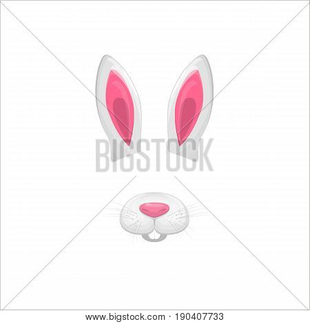 Rabbit face elements. Vector illustration. Animal character ears and nose. Video chart filter effect for selfie photo decoration. Constructor.Cartoon white hare mask. Isolated on white. Easy to edit.