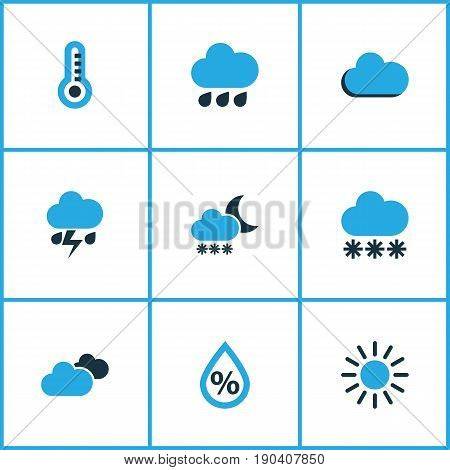 Weather Colorful Icons Set. Collection Of Blizzard, Cloudy Sky, Humidity And Other Elements. Also Includes Symbols Such As Lightning, Overcast, Cloud.