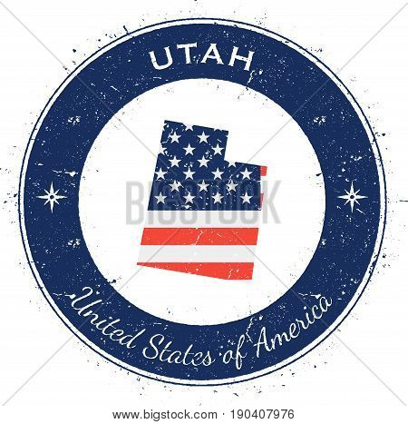 Utah Circular Patriotic Badge. Grunge Rubber Stamp With Usa State Flag, Map And The Utah Written Alo