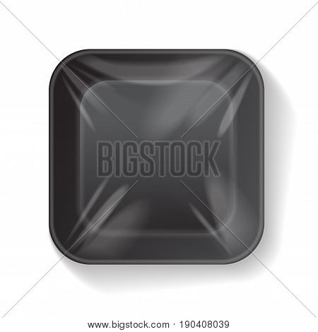 Black Square Blank Styrofoam Plastic Food Tray Container. Vector Mock Up Template for your design