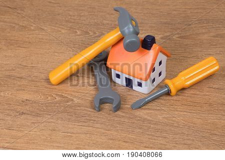 Model House With Hand Tools In A Diy Concept