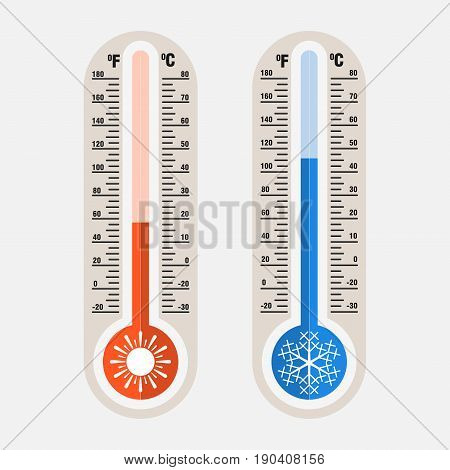Image of meteorological thermometers measurement of heat and cold by Celsius Fahrenheit flat style vector image
