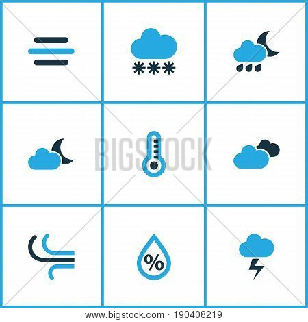 Weather Colorful Icons Set. Collection Of Snowfall, Breeze, Drizzle And Other Elements. Also Includes Symbols Such As Bolt, Drizzle, Temperature.