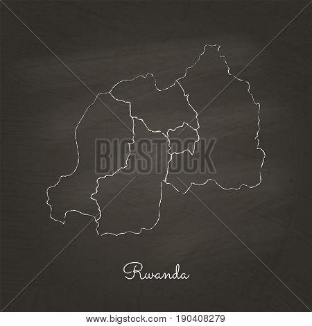 Rwanda Region Map: Hand Drawn With White Chalk On School Blackboard Texture. Detailed Map Of Rwanda