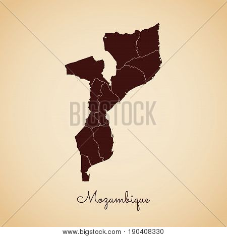 Mozambique Region Map: Retro Style Brown Outline On Old Paper Background. Detailed Map Of Mozambique
