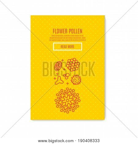 Sunny pollen Banner honey product. Juicy colors, linear icons with bees, honeycombs, apiculture devices, for advertising apitherapy products, beekeeping, cosmetic preparations, creams, soaps medicines