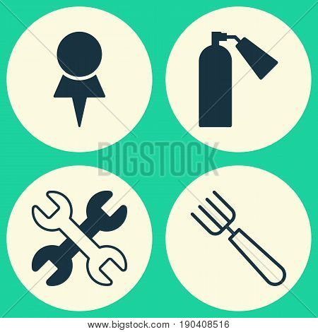 Apparatus Icons Set. Collection Of Location, Garden Fork, Spanner And Other Elements. Also Includes Symbols Such As Spanner, Firefighter, Destination.
