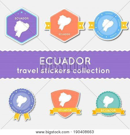 Ecuador Travel Stickers Collection. Big Set Of Stickers With Country Map And Name. Flat Material Sty