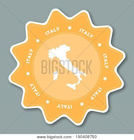 Italy Map Sticker In Trendy Colors. Star Shaped Travel Sticker With Country Name And Map. Can Be Use