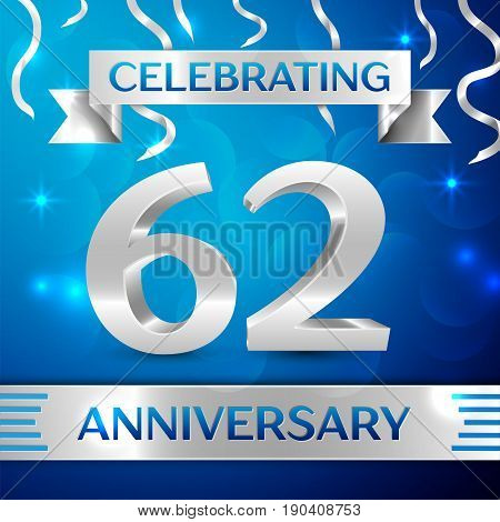 Sixty two Years Anniversary Celebration Design. Confetti and silver ribbon on blue background. Colorful Vector template elements for your birthday party. Anniversary ribbon