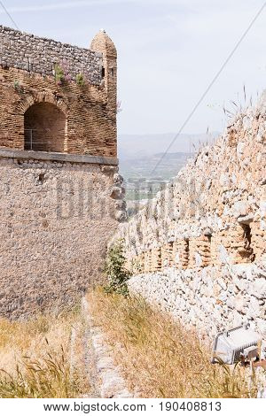 Part of Palamidi medieval fortress Nafplio Greece .