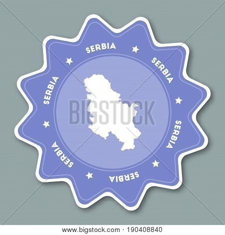 Serbia Map Sticker In Trendy Colors. Star Shaped Travel Sticker With Country Name And Map. Can Be Us