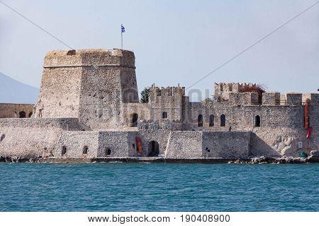 Bourtzi water fortress of Nafplio Greece .
