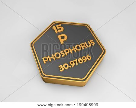 phosphorus - P - chemical element periodic table hexagonal shape 3d illustration
