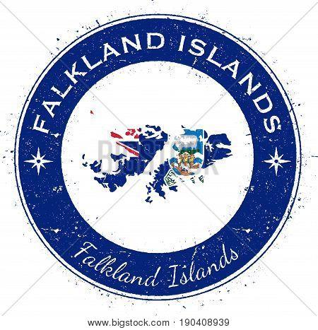 Falkland Islands (malvinas) Circular Patriotic Badge. Grunge Rubber Stamp With National Flag, Map An